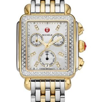 MICHELE Deco Diamond Watch Case & 18mm Bracelet | Nordstrom