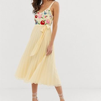ASOS DESIGN embroidered pleated cami midi dress | ASOS