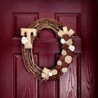 CIJ Sale Wreath Burlap Initial Grapevine for Front Door Fall Monogram