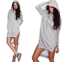 new fashion Hoodie sweatshirt dress plus size women casual long sleeve Femme elegant dress women clothing XL XXL