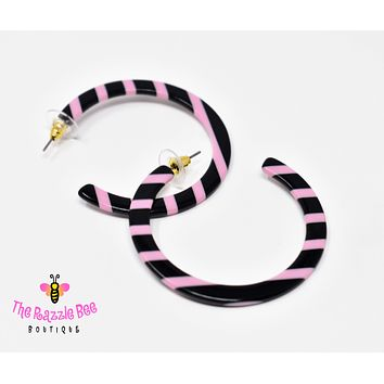 Pink Striped Hoop Earrings