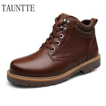 Tauntte Plus Size Winter Keep Warm Men Work Boots Genuine Leather Ankle BootsWith Fur Waterproof Snow Boots