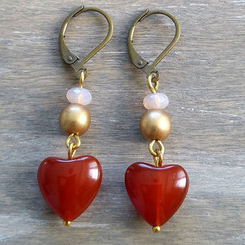 Heart dangle stone earrings, carnelian gemstone earrings, stone drop earrings, red earrings, boho drop earrings, bohemian inspired earrings