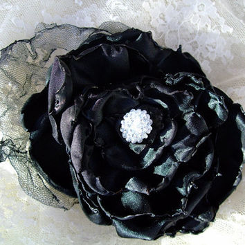 Black Flower Hair Clip Bridal Wedding by OurPlaceToNest on Etsy