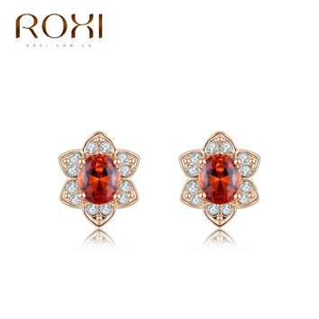 ROXI Hot Rose gold  ear drop pattern Delicate Large red zircon Earrings,Gift to girlfriend, handmade fashionable  Earrings