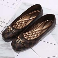 Louis Vuitton LV plaid flat shoes canvas women sandals shoes G-YJBD-2H