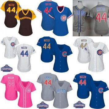 Women's Chicago Cubs #44 Anthony Rizzo Baseball Jerseys Ladies Shirt White Blue Grey Pink Fashion Stitched Size S-XL