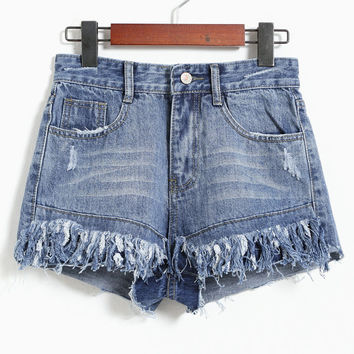 Cats Tassels Denim Hip-hop Shorts [4919888772]