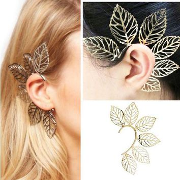 Gothic Punk Sexy Gold Metal Big Leaves Earring Elf Ear Cuff