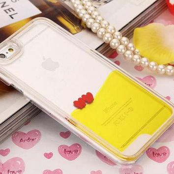 LMFEJ6 Heart Dynamic Yellow Liquid Glitter Sand Quicksand Star Bling Clear iPhone case Phone Case