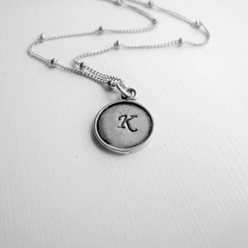 Hand Stamped Tiny Initial Necklace Small Hand Stamped Initial Necklace Layering Everyday Simple Minimalist Personalized Necklace Gift Idea