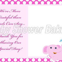 Baby Shower Thank You Card, Printable Elephant Thank You Card, Pink Elephant Baby Shower Thank You