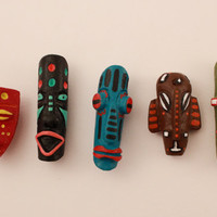 Ethnic Dreadlock Beads African Mask