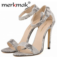 Europe 2017 Summer Women Ankle Strap High Heels Snake Skin Pattern Peep Toe Sandals Ladies Sexy Thin Heel Shoe zapatos mujer