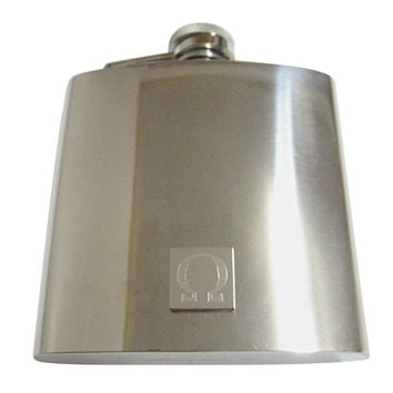 Silver Toned Etched Mathematical Greek Omega Symbol 6 Oz. Stainless Steel Flask