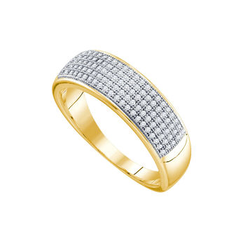 10kt Yellow Gold Mens Round Diamond Band Wedding Anniversary Ring 1/3 Cttw 64567