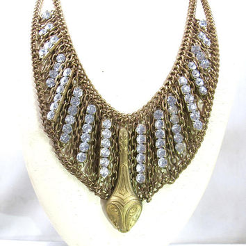 Egyptian Revival Snake Necklace. Art Deco Multi Chain Rhinestone Bib Collar. Joseff Of Hollywood Style Jewelry. BoHo Chic