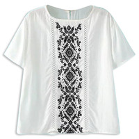 White Embroidery Pattern Short Sleeve Blouse