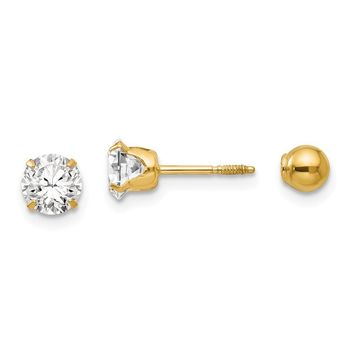 Reversible 5mm Crystal and Ball Screw Back Earrings in 14k Yellow Gold