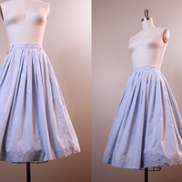 1950s skirt // vintage blue cotton full skirt // small medium S M