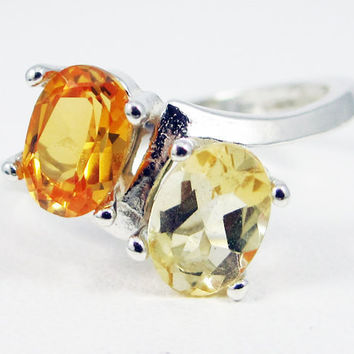 Yellow Sapphire and Citrine Double Oval Ring Sterling Silver, November Birthstone Ring, Two Stone Ring, Yellow Sapphire Ring