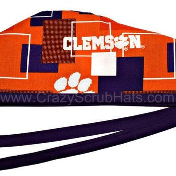 Men's Unlined Surgical Scrub Hat Cap in Clemson Tigers New Block