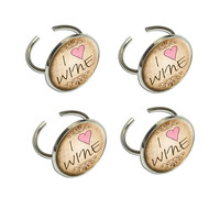 I Heart Love Wine Vintage Napkin Ring Set