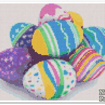 Easter Eggs Cross Stitch Pattern, Easter Home decor, bunny x stitch pattern, Cross stitch Embroidery, Embroidery pattern