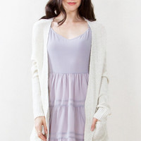 Sugarlips The Slubby Chic Cream Knit Cardigan Sweater