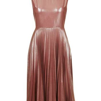 PETITE Metallic Lamé Pleated Midi Dress - Dresses - Clothing