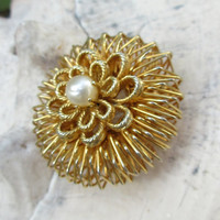 Vintage Brooch Gold  Tone Domed with Pearl Intricate Layered Wire Work       F60