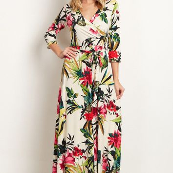 Ivory-Multi-Color-Tropical-Wrap-Maxi-Dress