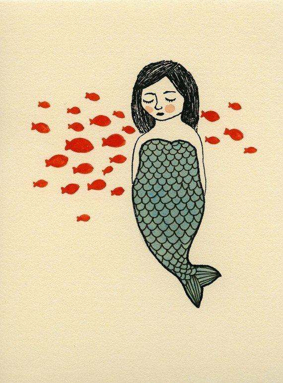 blue mermaid with fishes gocco screen print by katep on Etsy