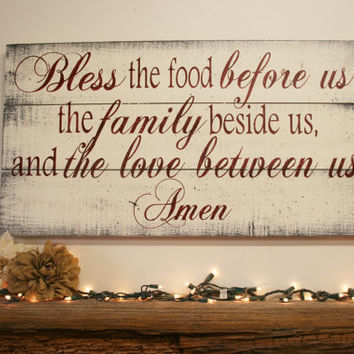 Bless The Food Pallet Sign Kitchen Dining Room Rustic Wood Christian Wa