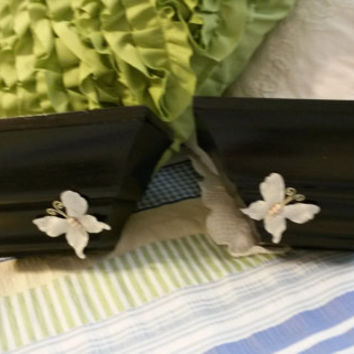 Up-cycled Cottage Chic Black Wall Shelves With Gray Accents - A Pair - Black Shelves Adorned With Gray Flowers and Butterflies as Accents