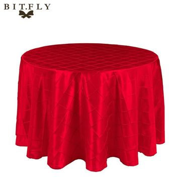 "10pcs 120""/305cm Round Pintuck Taffeta Wedding Party Tablecloth Decoration Banquet"
