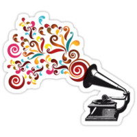 Abstract swirl background with record player