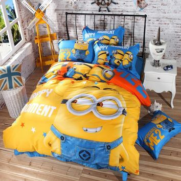 Home Textile 3d Cartoon Bedding Set Minions Mickey Mouse Hello Kitty Bedding 3-4pcs Bed Linen Duvet Cover Bed Sheet Pillowcases