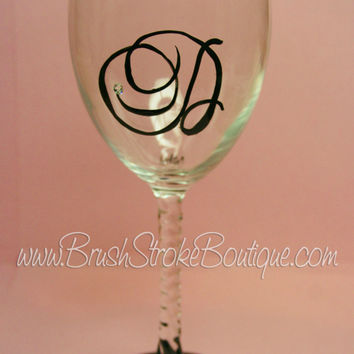 Hand Painted Wine Glass - Monogram - Original Designs by Cathy Kraemer
