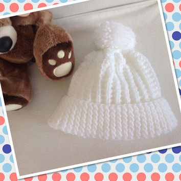 HandKnitted Baby Boy Hat, Handknitted Reborn Doll Hat, White Pom Pom Hat, Baby Knitted Hat, Knitted Baby Clothes, Traditional Baby