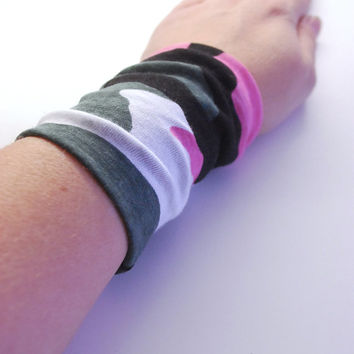 Camo Print Wrist Cuff Military Print with Pink Accent Jersey Wrist Bracelet Fashion accessory Women Teens Wrist Tattoo Cover