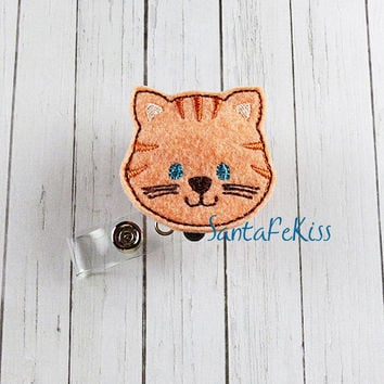 Baby Fox Felt ID Badge Holder with retractable badge reel makes a great gift for Office Worker / Nurse / Teacher/ Coworker