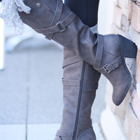Texas Gal Snaps & Straps Business Boots-Grey