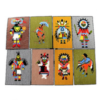 Vintage Set of 8 Kachina Doll Needlepoint Panels Southwestern Art Indian Kachina Dolls Figures 70s Kitsch Home Decor Unframed Pictures