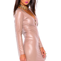 NUDE BEIGE FAUX LEATHER DEEP V NECK LONG SLEEVE BEJEWELED BODYCON FITTED CLUBBING MINI DRESS