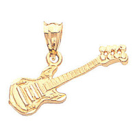 14K Yellow Gold Guitar Pendant, Guitar Pendant, Guitar Jewelry, Music Jewelry, Acoustic Jewelry, Bass Jewelry, Gold Guitar, Guitar
