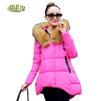 Women Down cotton Coat Winter New style Medium long Women Wadded jacket Hooded Fur collar Warm A-line Coat Big yards M-5XL F1255