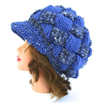 Unisex Newsboy Cap - Sea Mist Mix Periwinkle Hat With Brim - Brimmed Beanie - Entrelac Cap - Visor Hat - Chunky Beanie - Knit Accessories
