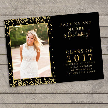 Black and Gold Glitter Graduation Invitation