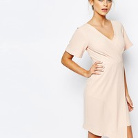 Closet Wrap Front Midi Dress with Square Front at asos.com